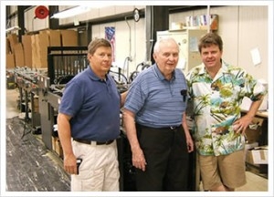 Pictured from left: Carl Schaefer Jr., President, Carl Schaefer Sr. and Dale Schaefer, Vice President, Art Bindery.