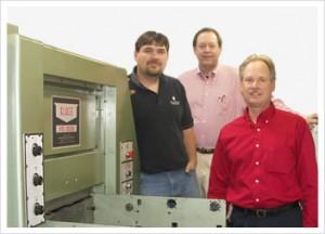 Pictured from left: Scott Wiegers, Lead Pressman, Gregory Greenwald, President, Scarab Printing Arts and Tim Meihls, Central Region Sales Manager, Brandtjen & Kluge, Inc.