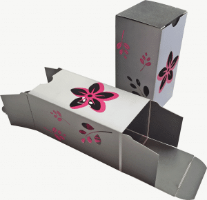 box with die cut flowers