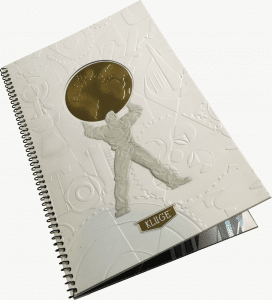 embossed booklet with gold globe