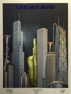 Chicago blues poster made on a kluge